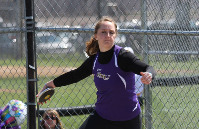 Olivet Nazarene's Amy Blucker scored in three events at the NAIA Oudoor Track & Field Championships.