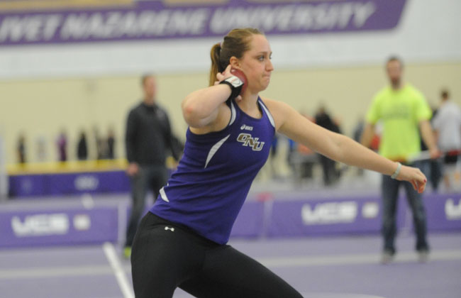 Olivet Nazarene's Amy Blucker was named the CCAC Field Event Performer of the Meet on Saturday.