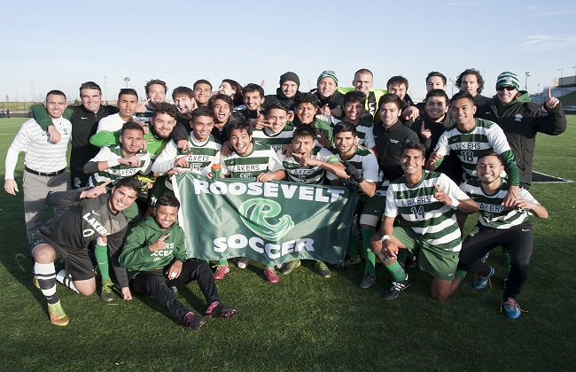 The Roosevelt men's soccer team celebrates after winning the CCAC Tournament. Photo: Rudi Ayasse