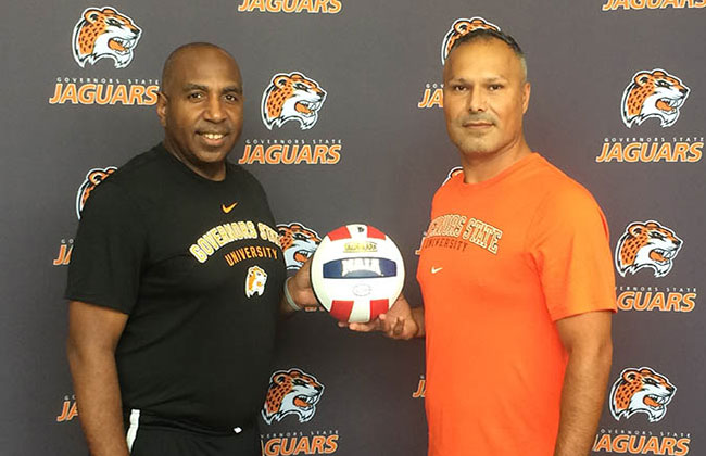 Governors State athletic director Tony Bates with new Jaguar women's volleyball coach Pedro Gonzalez.